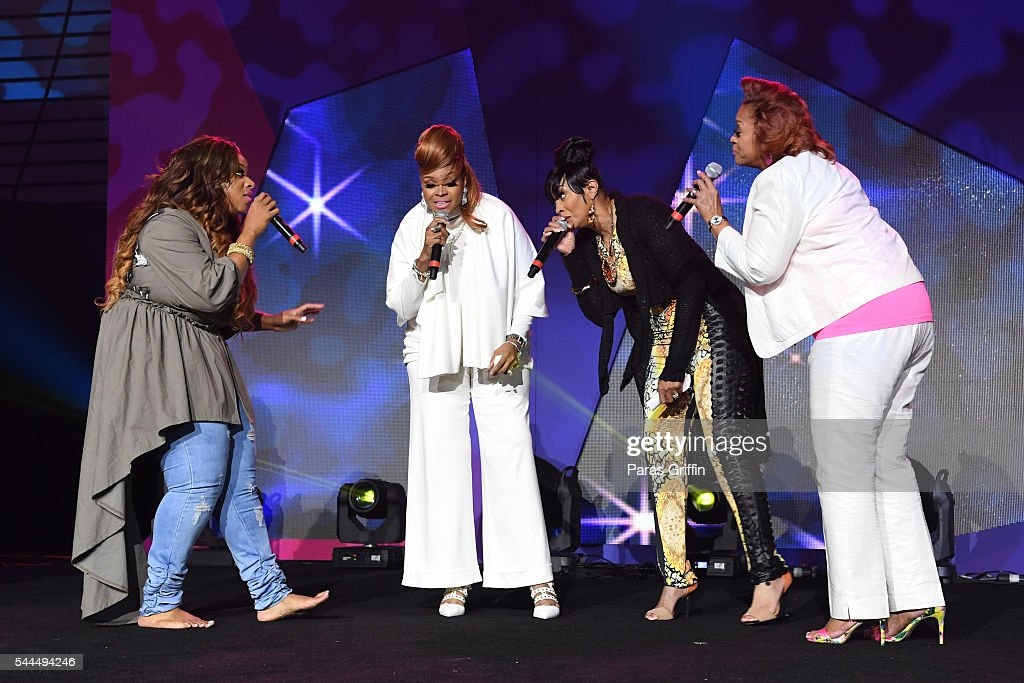 Kierra Sheard, Karen Clark Sheard, Dorinda Clark-Cole, and Jacky Cullum Chisholm from The Clark Sisters perform onstage during the Tribute Finale at the 2016 ESSENCE Festival Presented By Coca-Cola at Ernest N. Morial Convention Center on July 3, 2016 in New Orleans, Louisiana.