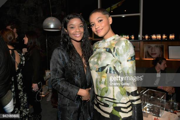 Kiersey Clemons and Aijona Alexus attend the HM celebration of 2018 Conscious Exclusive collection at John Lautner's Harvey House on April 5 2018 in...