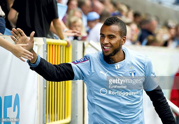 Kiese Thelin of Malmo FF in action shakes hands with fans before the Swedish Allsvenskan League match between Malmo FF and Atvidaberg FF at the...