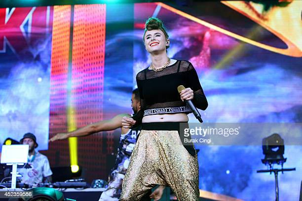 Kiesza performs on stage at Lovebox 2014 at Victoria Park on July 18 2014 in London United Kingdom
