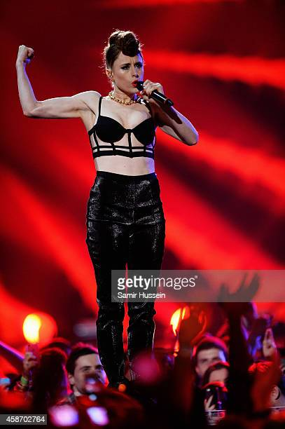 Kiesza performs on stage during the MTV EMA's 2014 at The Hydro on November 9 2014 in Glasgow Scotland