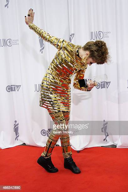 Kiesza, winner of Dance Recording of the Year, poses in the press room at the JUNO Lights arrives at the Gala Dinner & Awards at Hamilton Convention...