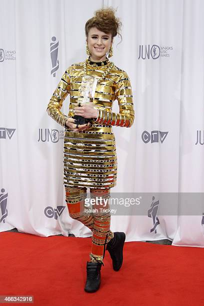 Kiesza, winner of Dance Recording of the Year, poses in the press room at the JUNO Gala Dinner & Awards at Hamilton Convention Centre on March 14,...