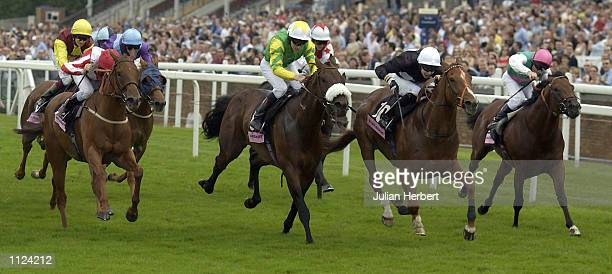 Kieth Dalgleish and Brave Burt lead the field home to land The Doubleprint Handicap Stakes run at Ascot Racecourse in Ascot on July 13 2002