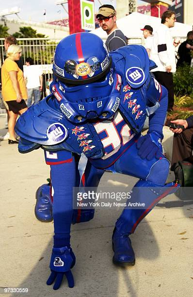 Kietrh Arbeeny of Brooklyn looking like an escapee from Star Wars hopes the force will be with the New York Giants as they face the Baltimore Ravens...
