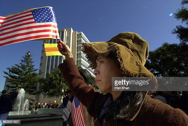 Kieu Cong of Rancho Cucamonga joins other protestors outside the Ronald Reagan Federal Building in Santa Ana Thursday where Van Duc Vo 42–year–old...