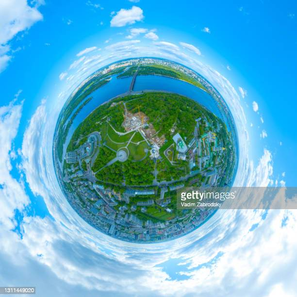 kiev in the form of an abstract planet - kiev stock pictures, royalty-free photos & images