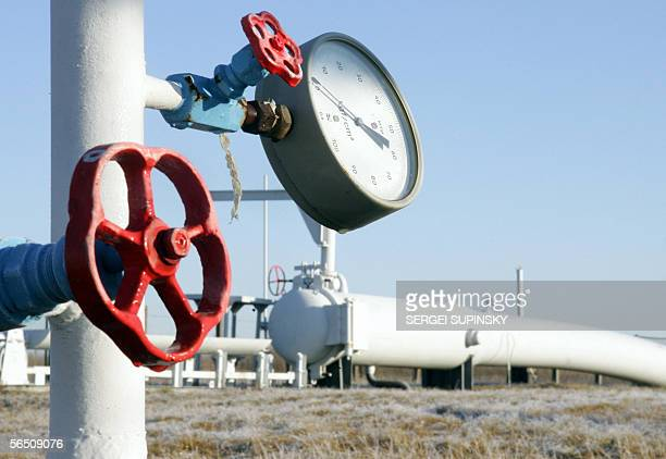View of gas pressure-gauge and the valve of the main gas-pipe not far from Kiev 01 January, 2006. Russia began lowering the pressure of natural gas...