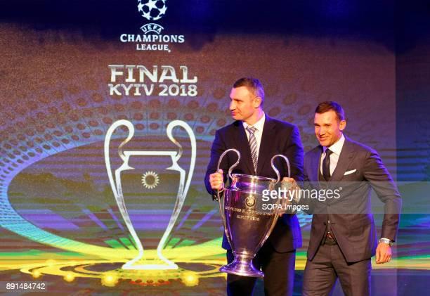 Kiev's mayor former heavyweight boxing world champion Vitali Klitschko and Ukraine's national soccer team coach Andriy Shevchenko pose with the...