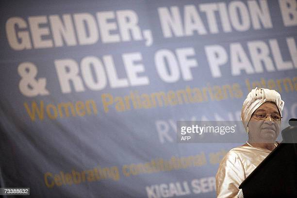 Liberian President Ellen Johson Sirleaf gives a speech 22 February 2007 during the opening ceremony of the Women Parliamentarians International...