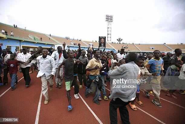 Rwandans demonstrate in Kigali's stadium to denounce France's alleged complicity in the 1994 genocide after French antiterrorism Judge JeanLouis...