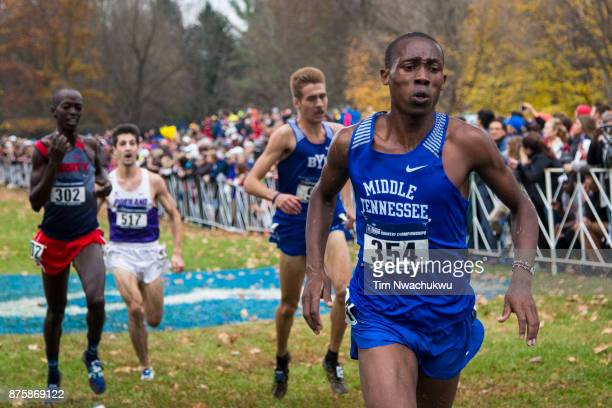 Kigen Chemadi of Middle Tennessee State University runs to the finish line during the Division I Men's Cross Country Championship held at EP Tom...