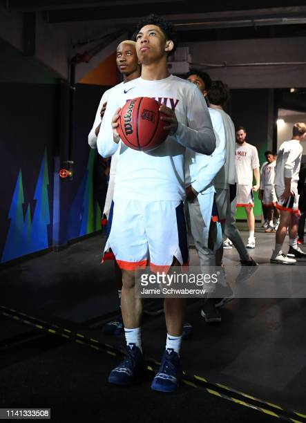 Kihei Clark of the Virginia Cavaliers waits to take the court before the game against the Texas Tech Red Raiders in the 2019 NCAA men's Final Four...