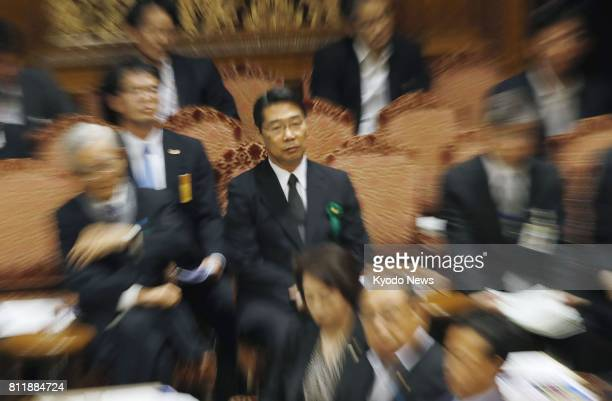 Kihei Maekawa a former top bureaucrat at the education ministry attends a House of Councillors committee meeting in Tokyo on July 10 to testify as an...