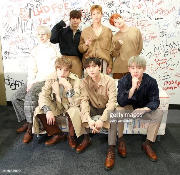 Kihyun Shownu Jooheon Hyungwon Minhyuk Wonho and IM of Monsta X visit Music Choice at Music Choice on December 06 2018 in New York City