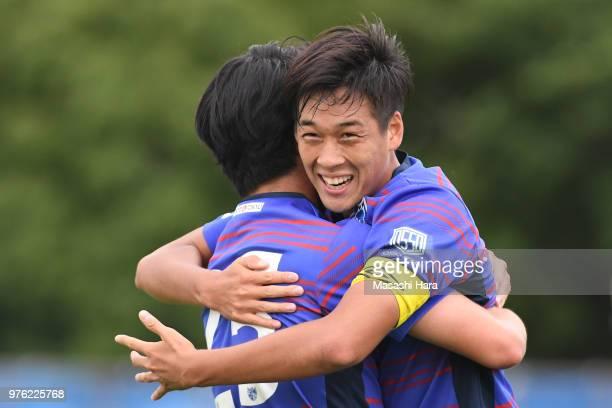 Kiichi Yajima of FC Tokyo celebrates the first goal during the J.League J3 match between FC Tokyo U-23 and FC Ryukyu at Yumenoshima Stadium on June...