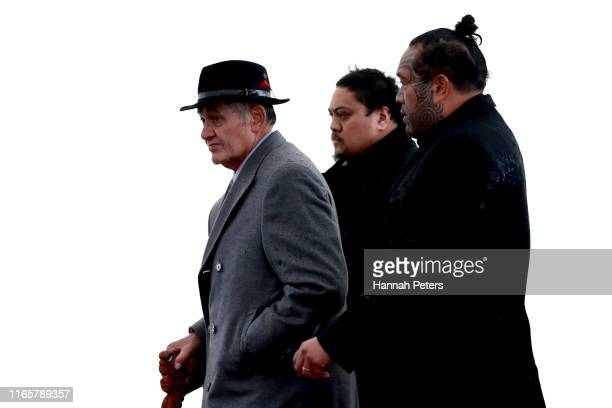 Kiingi Tūheitia is welcomed during a powhiri to Ihumātao on August 03, 2019 in Auckland, New Zealand. The site near Auckland Airport and the sacred...