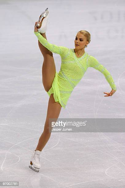 Kiira Korpi of Finland competes in the Ladies Short Program Figure Skating on day 12 of the 2010 Vancouver Winter Olympics at Pacific Coliseum on...