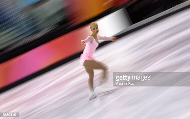 Kiira Korpi of Finland performs during the women's Short Program of the figure skating during Day 11 of the Turin 2006 Winter Olympic Games on...