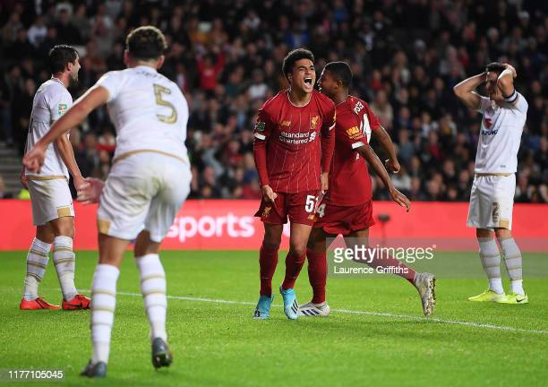 Ki-Jana Hoever of Liverpool celebrates after he scores his sides second goal during the Carabao Cup Third Round match between Milton Keynes Dons and...