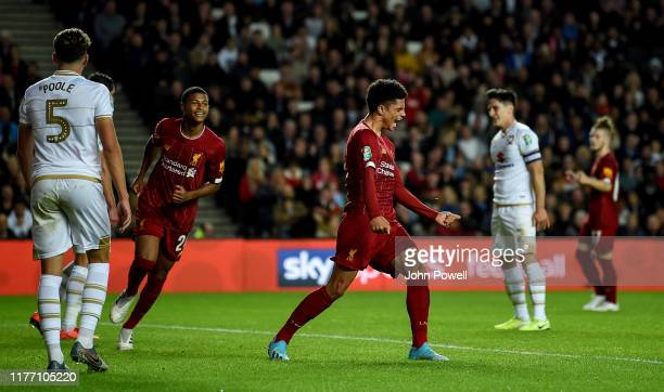 Ki-Jana Hoever of Liverpool celebrating after scoring a goal during the Carabao Cup Third Round match between Milton Keynes Dons and Liverpool FC at...