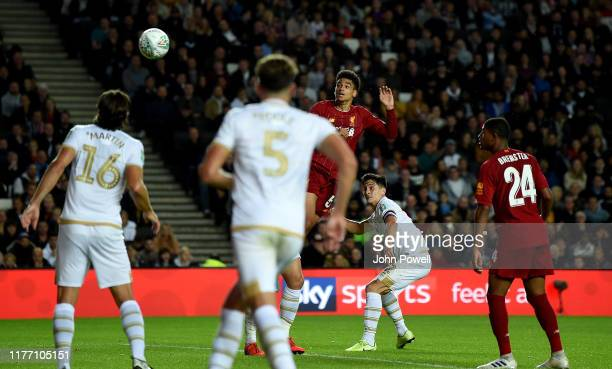 KiJana Hoever of Liverpool scoring a goal during the Carabao Cup Third Round match between Milton Keynes Dons and Liverpool FC at Stadium mk on...
