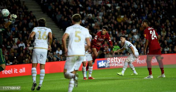 Ki-Jana Hoever of Liverpool scoring a goal during the Carabao Cup Third Round match between Milton Keynes Dons and Liverpool FC at Stadium mk on...
