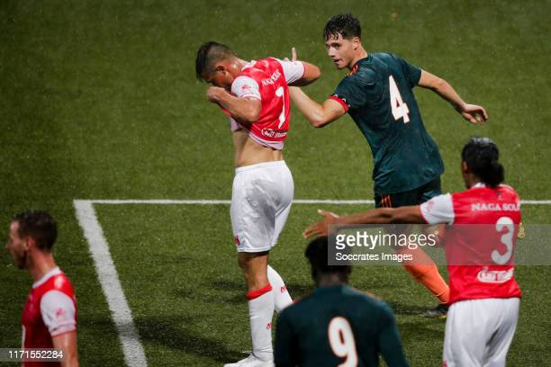 Kik Pierie of Ajax U23, celebrate his goal the 0-1, Thijmen Goppel of MVV Maastricht and Shermar Martina of MVV Maastricht, disappointed during the...