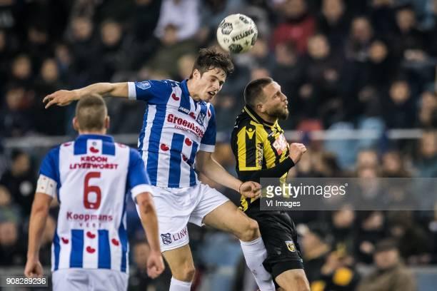 Kik Pierie of sc Heerenveen Tim Matavz of Vitesse during the Dutch Eredivisie match between Vitesse Arnhem and sc Heerenveen at Gelredome on January...