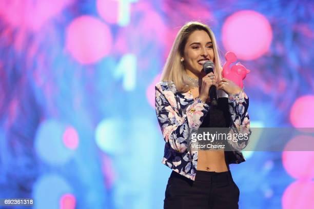 Kika Nieto speaks on stage during the MTV MIAW Awards 2017 at Palacio de Los Deportes on June 3, 2017 in Mexico City, Mexico.