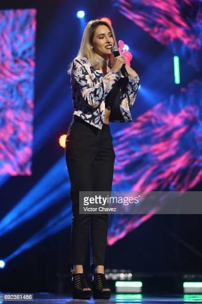 Kika Nieto speaks on stage during the MTV MIAW Awards 2017 at Palacio de Los Deportes on June 3 2017 in Mexico City Mexico
