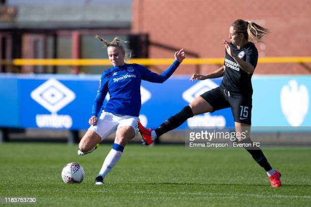 Kika Van Es of Everton and Kayleigh Green of Brighton in action during the Barclays FA Women's Super League match between Everton and Brighton Hove...