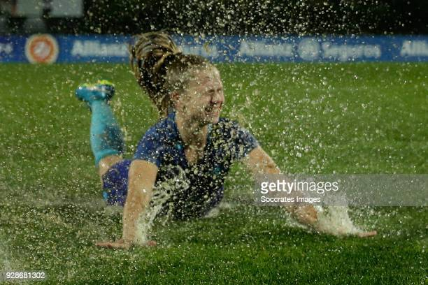 Kika van Es of Holland Women after the cancelled match due to the heavy rain during the Algarve Cup Women match between Holland v Sweden at the...
