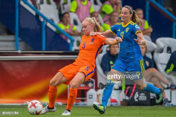 Kika van Es of Holland Women Kosovare Asllani of Sweden women during the UEFA WEURO 2017 quarter finale match between The Netherlands and Sweden at...