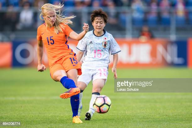 Kika van Es of Netherlands and Yuka Momiki of Japan fight for the ball during the Women's International Friendly match between Netherlands and Japan...