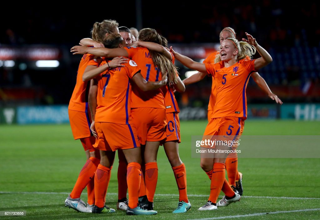 Kika van Es #5 of Netherlands celebrate a goal during the Group A match between Belgium and Netherlands during the UEFA Women's Euro 2017 at Koning Willem II Stadium on July 24, 2017 in Tilburg, Netherlands.