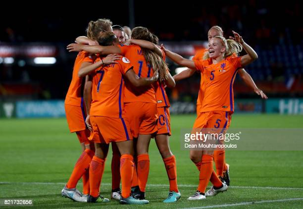 Kika van Es of Netherlands celebrate a goal during the Group A match between Belgium and Netherlands during the UEFA Women's Euro 2017 at Koning...
