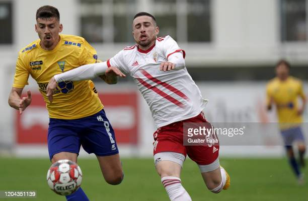 Kikas of UD Vilafranquense with Lucas of GD Estoril Praia in action during the Liga Pro match between GD Estoril Praia and UD Vilafranquense at...