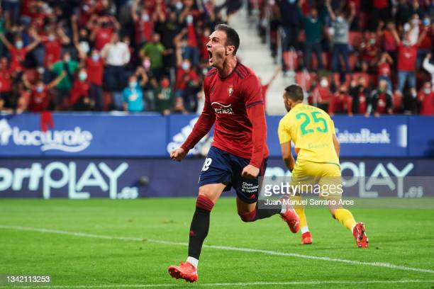 Kike Garcia of CA Osasuna celebrates after scoring goal during the La Liga Santander match between CA Osasuna and Real Betis at Estadio El Sadar on...