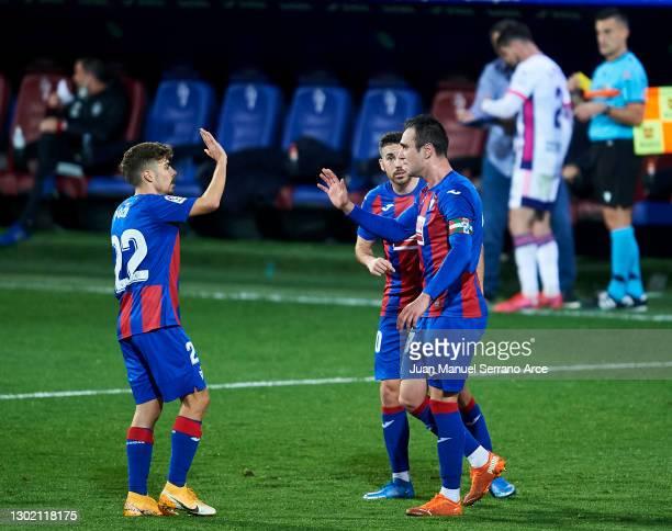 Kike Garcia of SD Eibar celebrates after scoring goal during the La Liga Santander match between SD Eibar and Real Valladolid CF at Estadio Municipal...