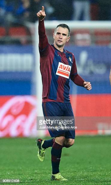 Kike Garcia of SD Eibar celebrates after scoring goal during the La Liga match between SD Eibar and Malaga CF at Ipurua Municipal Stadium on January...