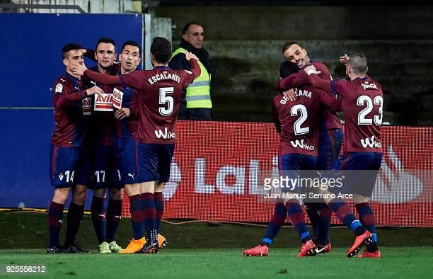 Kike Garcia of SD Eibar celebrates after scoring goal during the La Liga match between SD Eibar and Villarreal CF at Ipurua Municipal Stadium on...