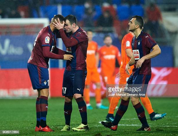 Kike Garcia of SD Eibar celebrates with his team mate Tiago Manuel Dias Correia 'Bebe' of SD Eibar after scoring the opening goal during the La Liga...