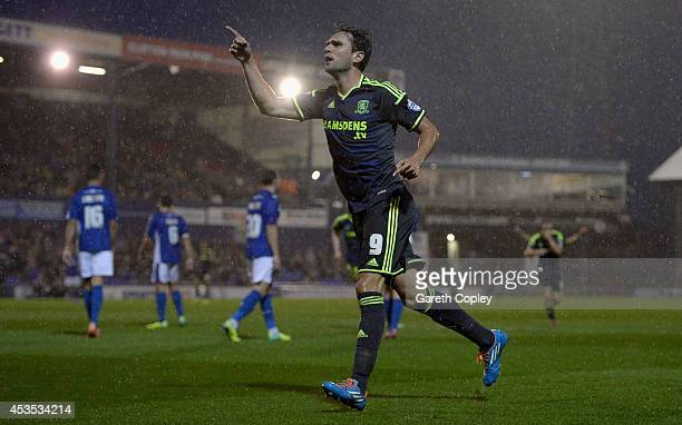 Kike of Middlesbrough celebrates scoring his team's 3rd goal during the Capital One Cup First Round match between Oldham Athletic and Middlesbrough...