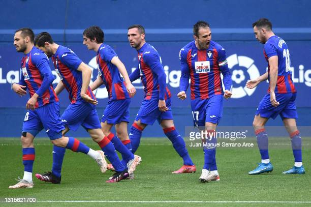 Kike of SD Eibar celebrates after scoring his team's first goal during the La Liga Santander match between SD Eibar and Deportivo Alavés at Estadio...