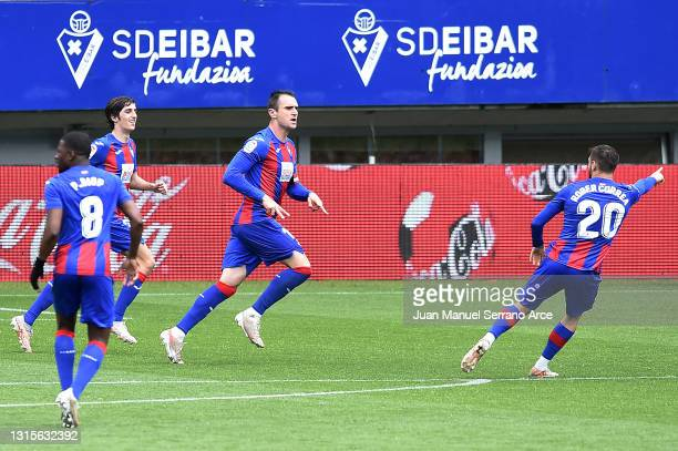 Kike of SD Eibar celebrates after scoring his team's second goal during the La Liga Santander match between SD Eibar and Deportivo Alavés at Estadio...