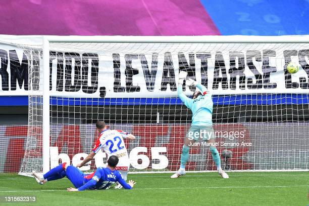 Kike of SD Eibar scores his team's second goal past Fernando Pacheco Flores of Deportivo Alaves during the La Liga Santander match between SD Eibar...