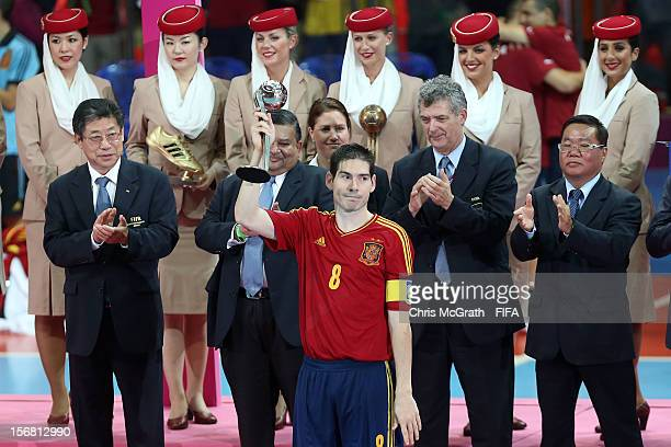 Kike of Spain holds aloft the adidas Silver Ball award after the FIFA Futsal World Cup Final between Spain and Brazil at Indoor Stadium Huamark on...