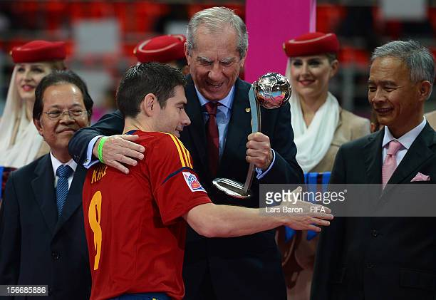 Kike of Spain is seen with the adidas Silver Ball Award after the FIFA Futsal World Cup Final at Indoor Stadium Huamark on November 18 2012 in...