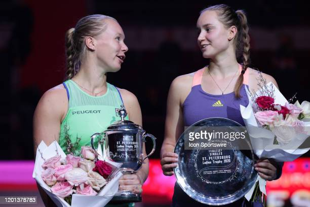 Kiki Bertens and Elena Rybakina poses during award ceremony WTA tennis tournament St Petersburg Ladies Trophy 2020 on February 16 at Sibur Arena in...